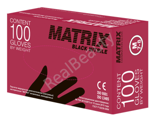 MATRIX Black Nitrile (100шт.) размер S (6-7)